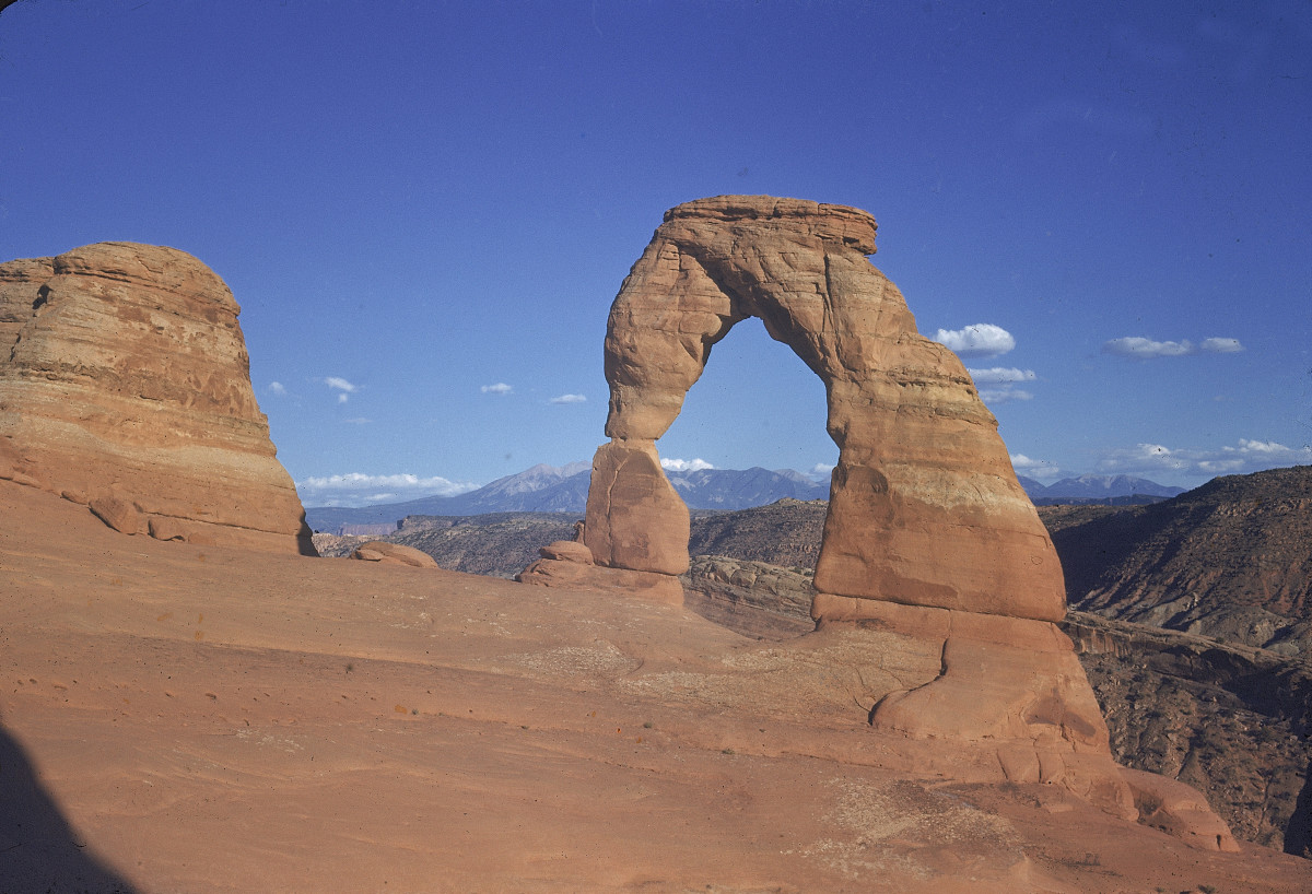 A view of the Delicate Arch sandstone rock formation at Arches National Park, near Moab, Utah.