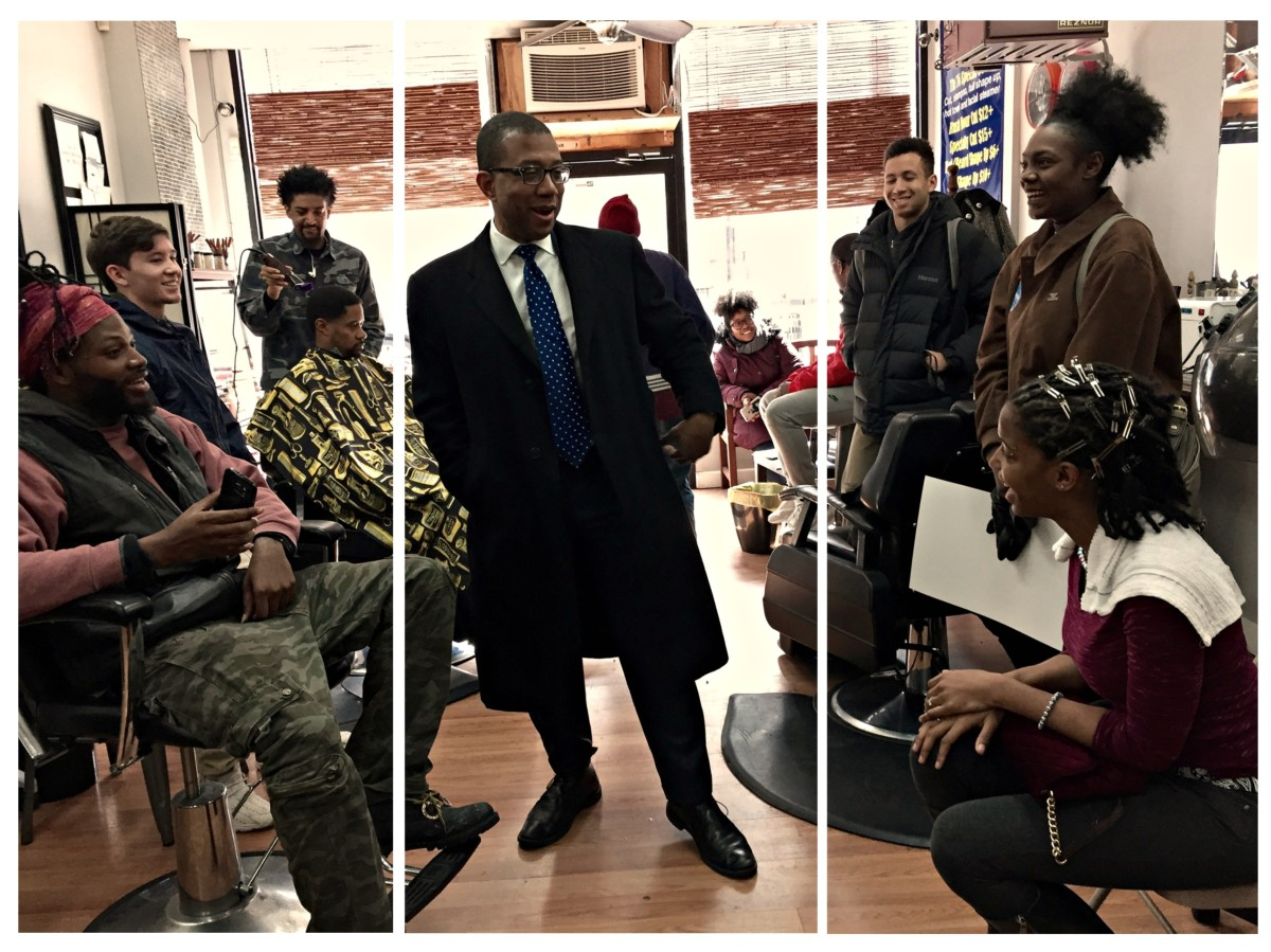 Johnson campaigns at a barber shop on March 11th in Newark, New Jersey.