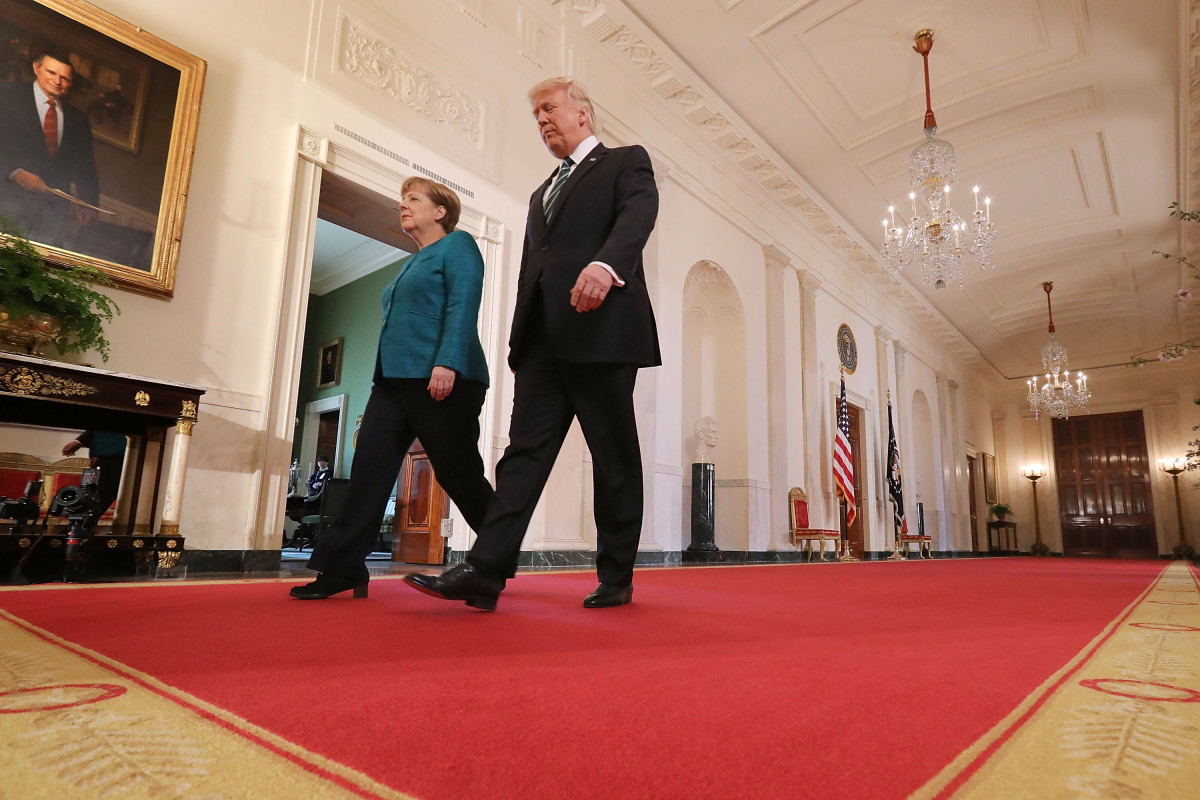 U.S. President Donald Trump and German Chancellor Angela Merkel arrive for a joint press conference in the White House on March 17th, 2017.
