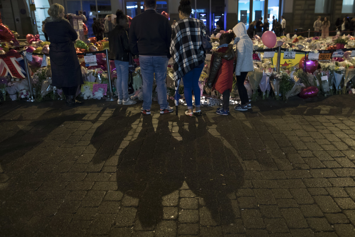 A vigil on St. Ann's Square in Manchester, northwest England on May 29th, 2017, exactly one week after a bomb attack at Manchester Arena killed 22 and injured dozens more.