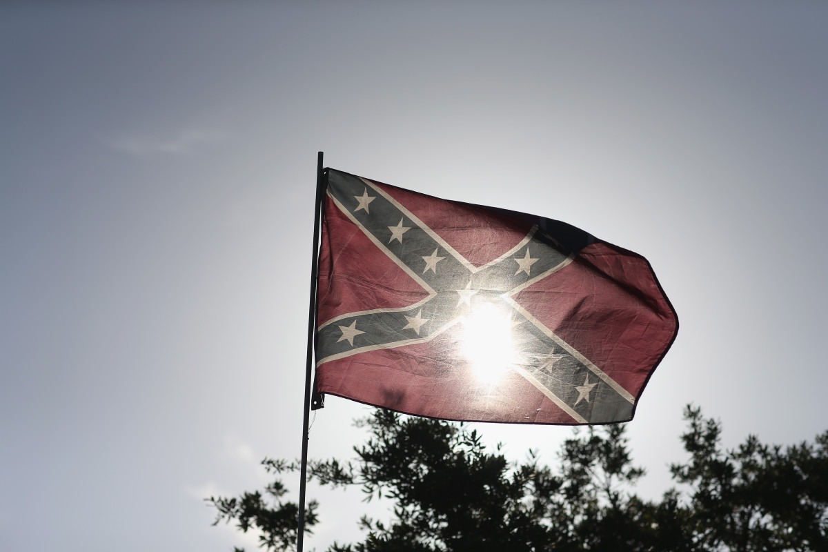 A Confederate flag during a rally to show support for the American and Confederate flags.