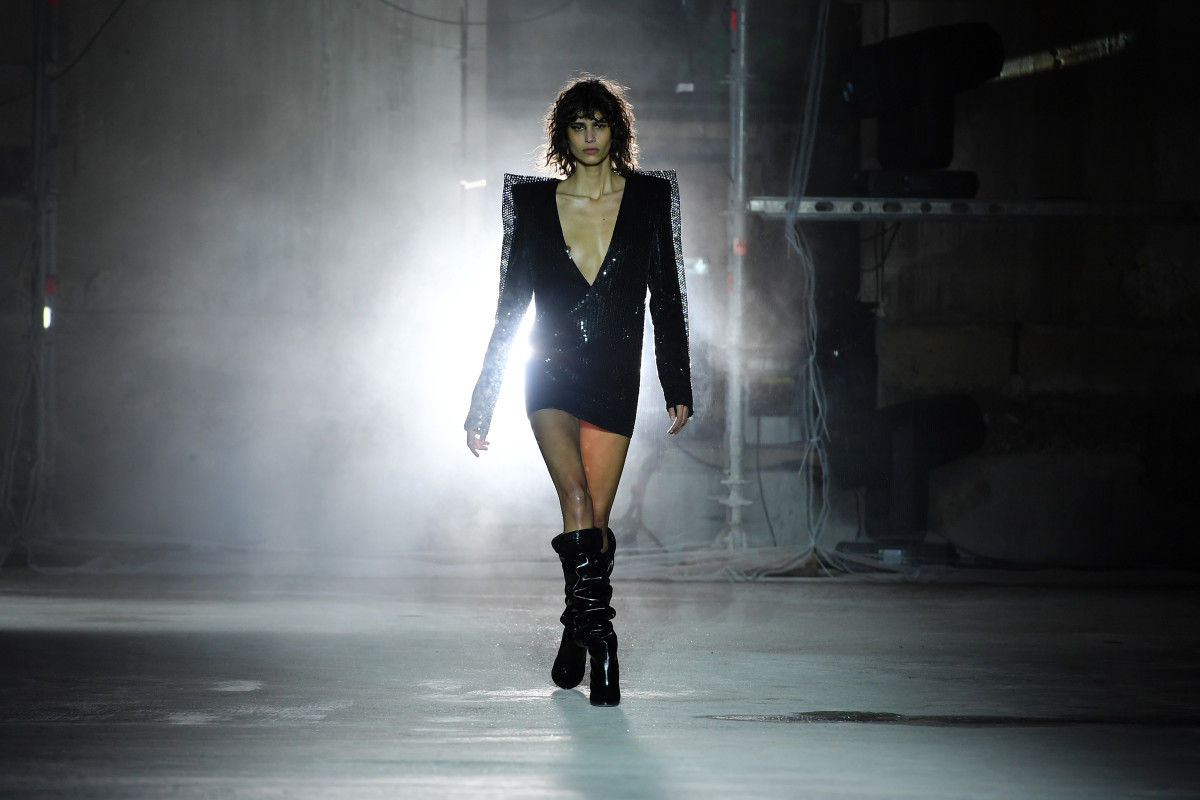 A model walks the runway during the Saint Laurent show as part of the Paris Fashion Week Womenswear Fall/Winter 2017/2018.