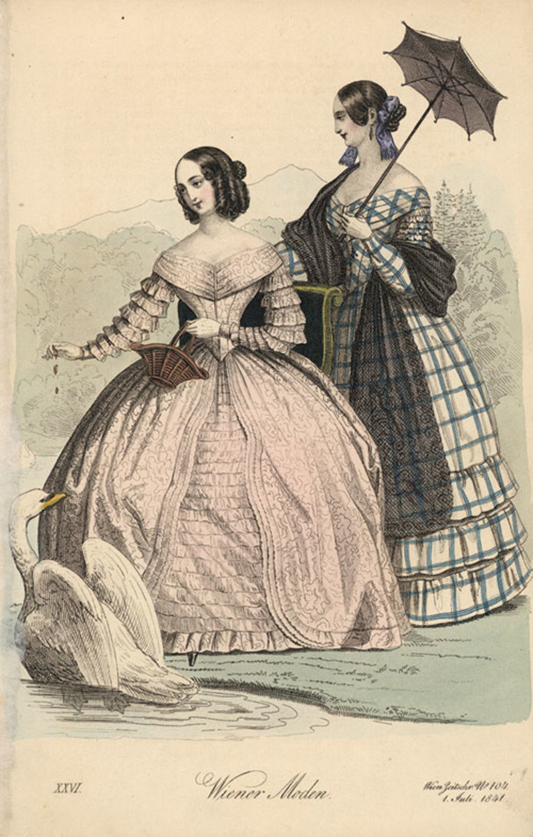 A domestic scene of an early Victorian off-the-shoulder look.