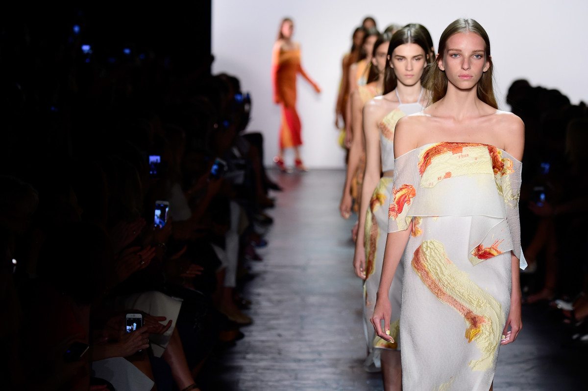 Models walk the runway wearing Prabal Gurung Spring 2016 during New York Fashion Week: The Shows.
