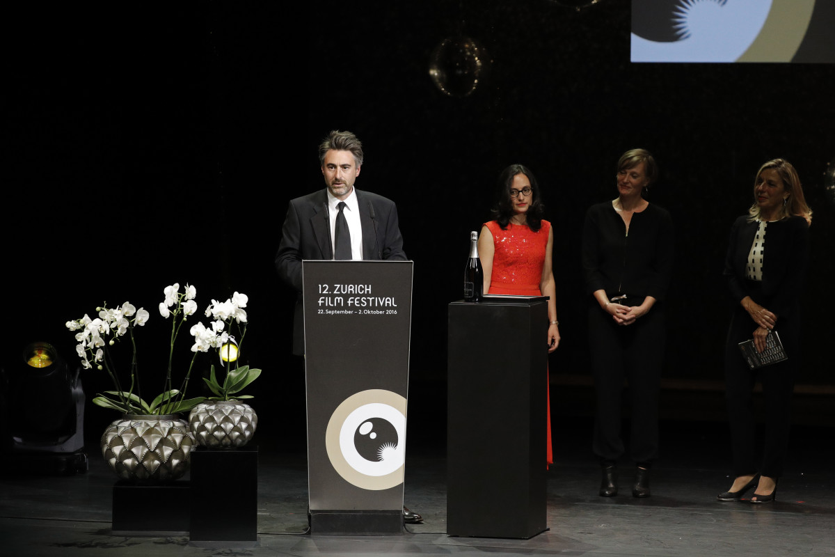 William Oldroyd receives the award for international movie for his movie Lady Macbeth on stage during the Award Night Ceremony during the 12th Zurich Film Festival.
