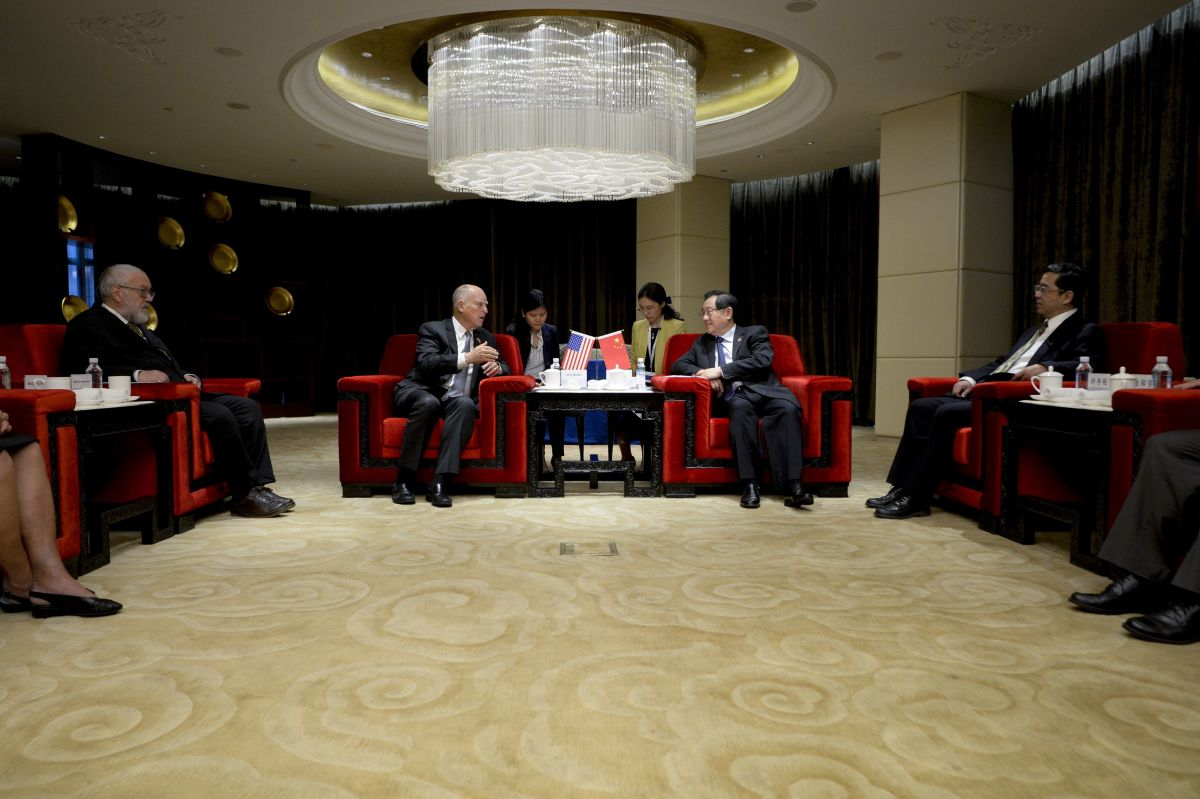 California Governor Jerry Brown speaks with Chinese Minister of Science and Technology Wan Gang during their meeting ahead of the the Clean Energy Ministerial international forum in Beijing on June 6th, 2017.
