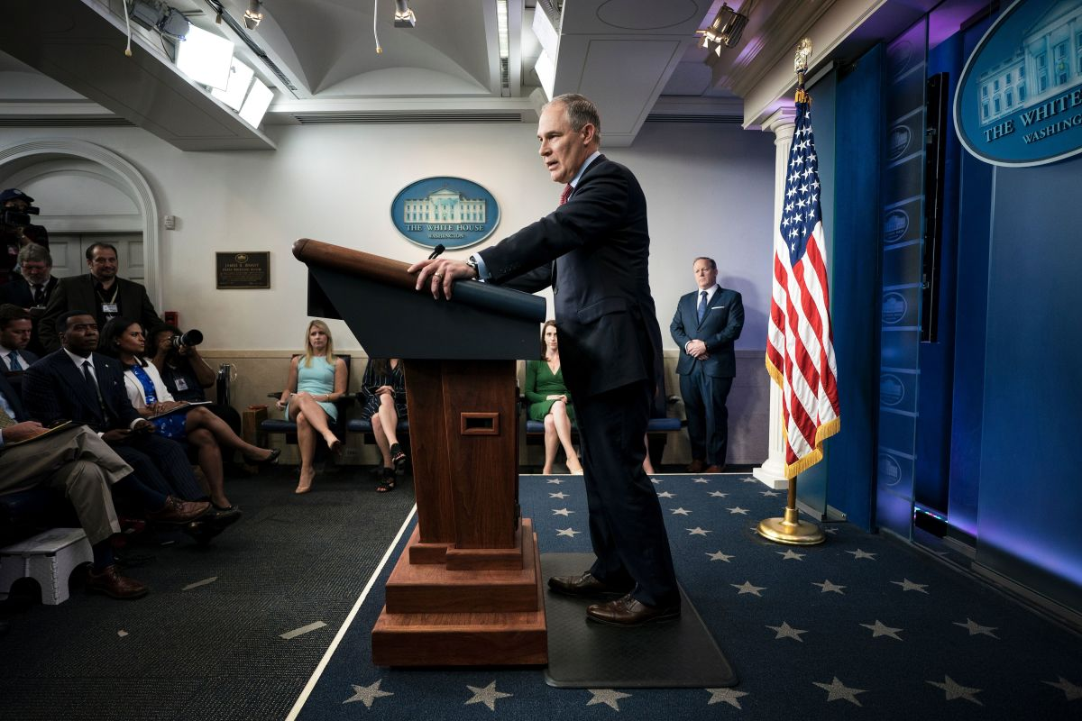 Environmental Protection Agency Administrator Scott Pruitt speaks during a briefing at the White House on June 2nd, 2017, in Washington, D.C.