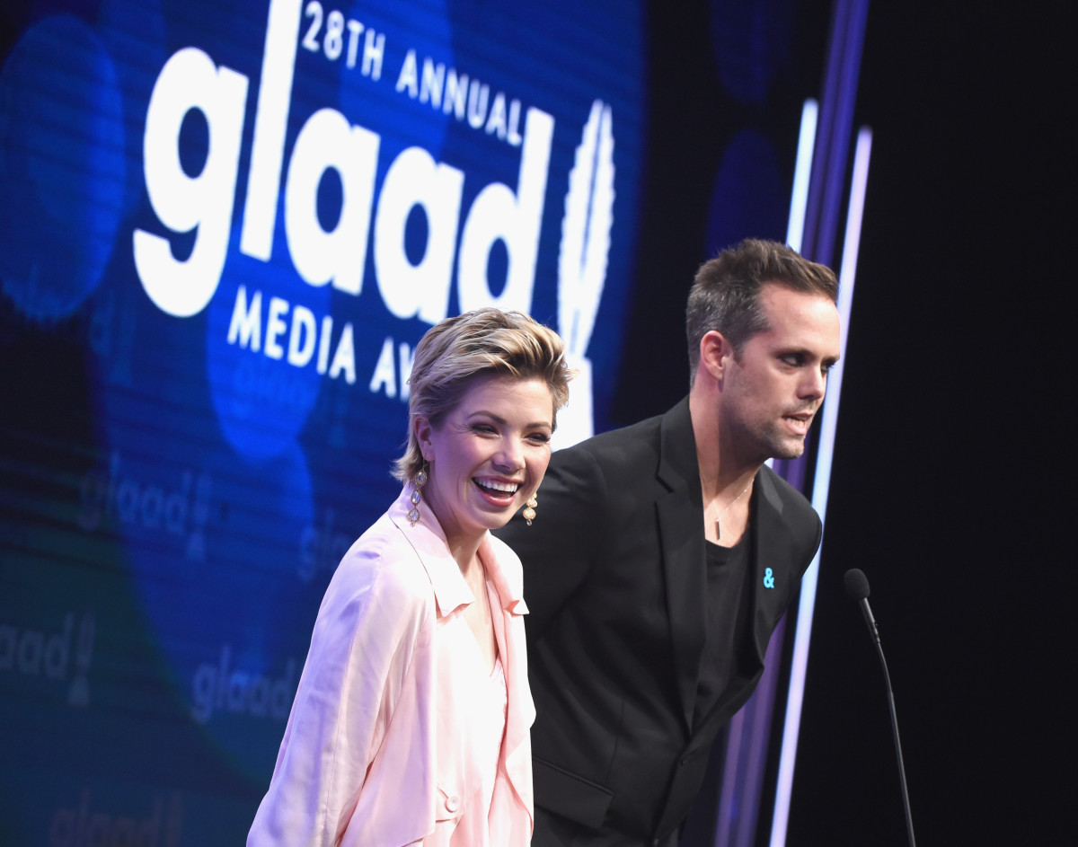 Singer Carly Rae Jepsen and songwriter Justin Tranter speak onstage during the 28th Annual GLAAD Media Awards in Beverly Hills, California, on April 1st, 2017.