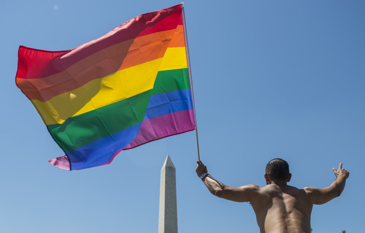 LGBT members and their supporters take part of the Equality March for Unity & Pride parade near the Washington monument in Washington, D.C., on June 11th, 2017.