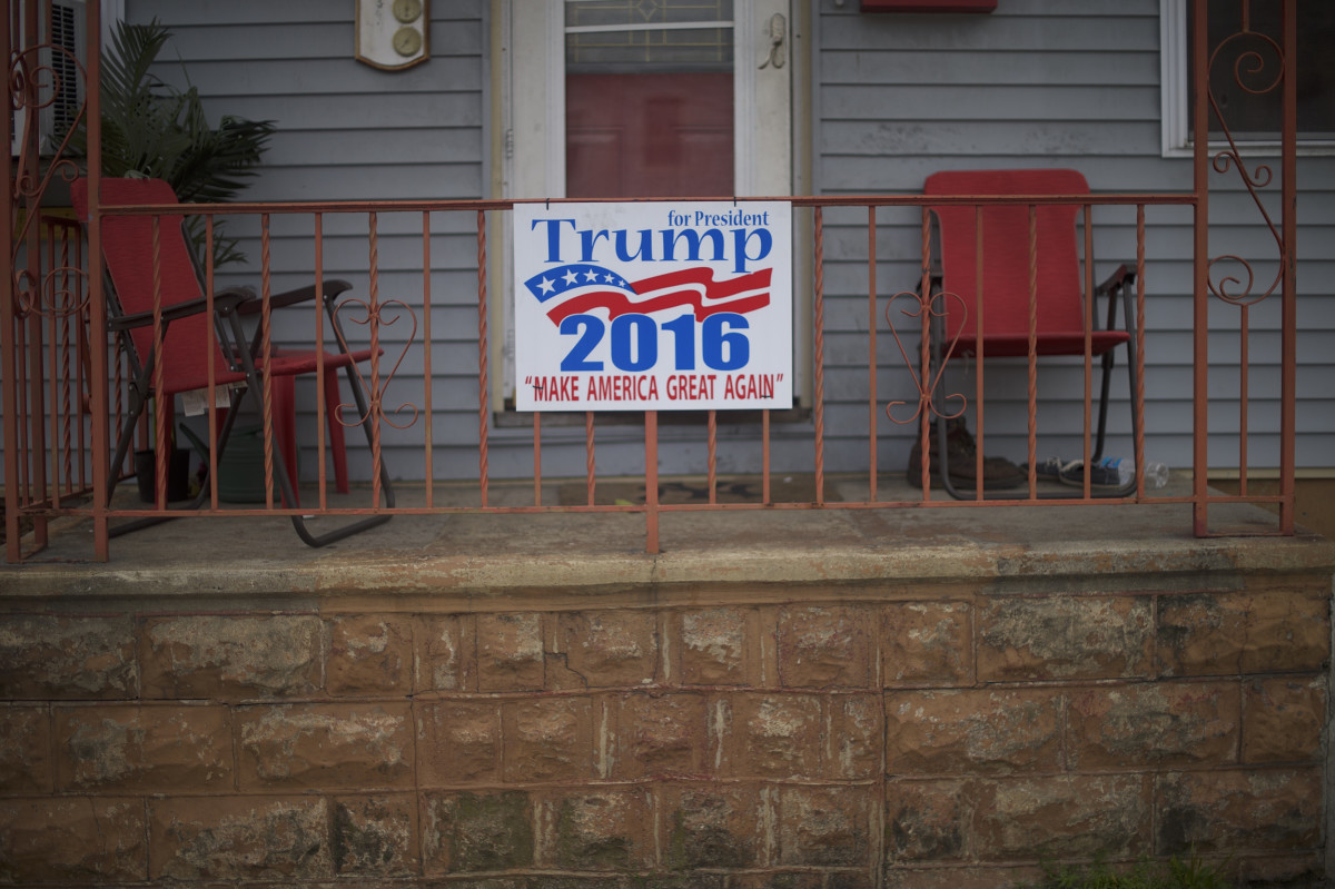 A sign for then-candidate Donald Trump is displayed on a front porch on August 14th, 2016, in Schuylkill Haven, Pennsylvania.