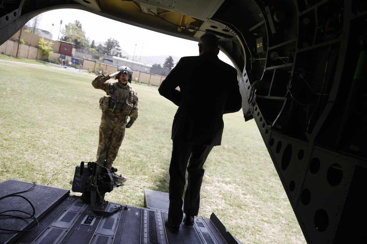 Secretary of Defense James Mattis is saluted by a member of his U.S. Army helicopter crew as he arrives at Resolute Support headquarters on April 24th, 2017, in Kabul, Afghanistan.