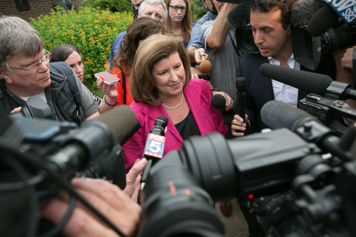 Republican candidate Karen Handel is surrounded by media after voting at St. Mary's Orthodox Church of Atlanta in the special election for Georgia's 6th Congressional District on June 20th, 2017, in Roswell, Georgia.