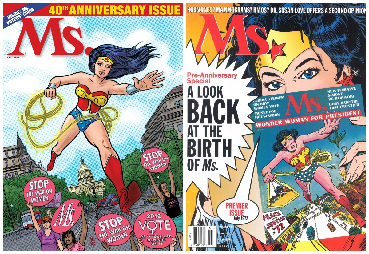 Wonder Woman returned to the cover of Ms. for its 35th and 40th anniversaries.