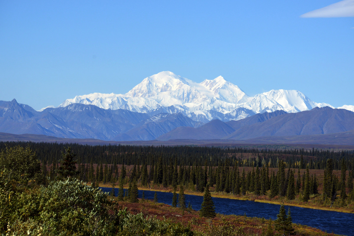 A view of Denali, formerly known as Mt. McKinley, on September 1st, 2015, in Denali National Park, Alaska.