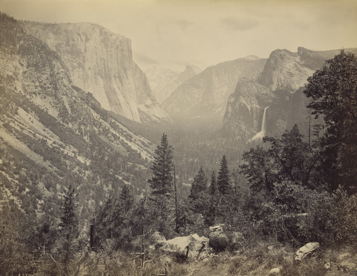 Looking east up Yosemite Valley from Artist Point, Yosemite National Park, California, circa 1865.
