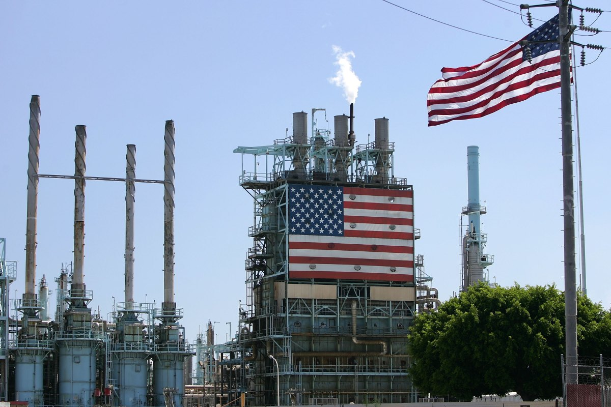 A BP oil refinery in Carson, California.
