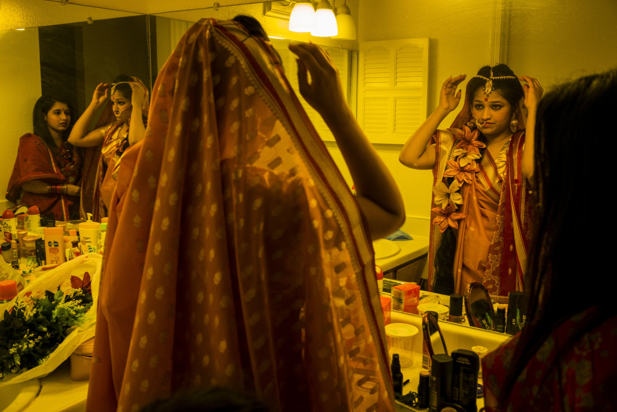 "Bangladeshi ""Tumeric ceremony,"" a pre-wedding ritual, in Houston, Texas."