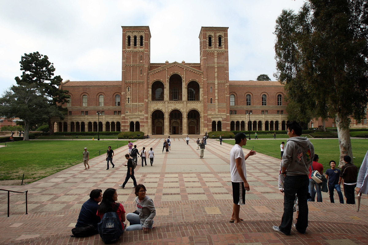 Students go about their business at the University of California–Los Angeles.