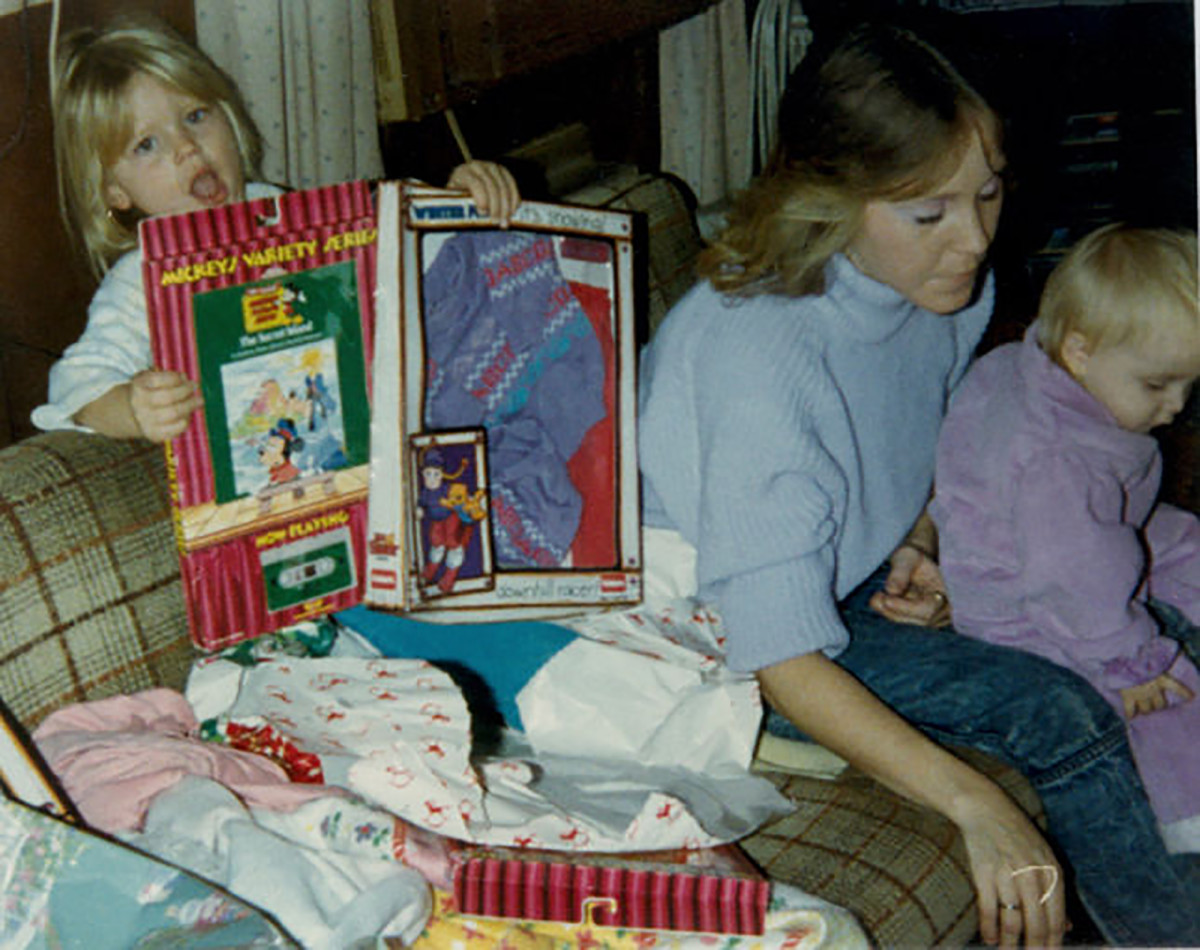 Debbie Daley (center), Christmas 1987.