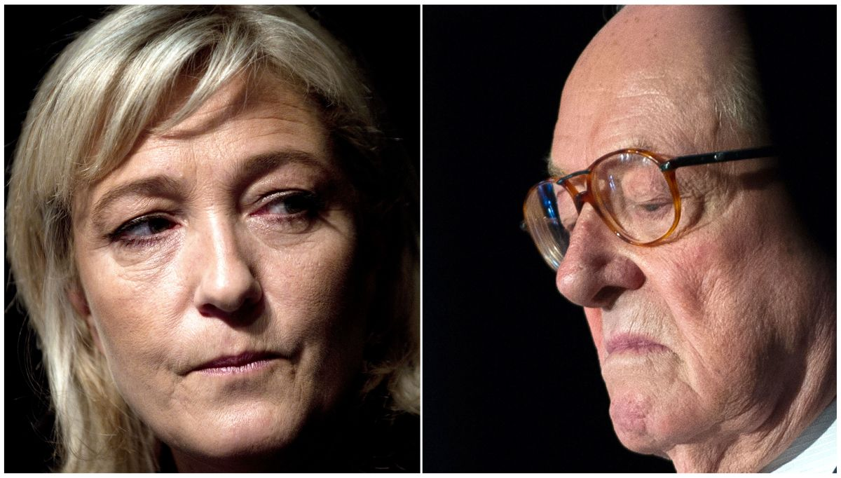 Left: Marine Le Pen.   Right: Jean-Marie Le Pen.