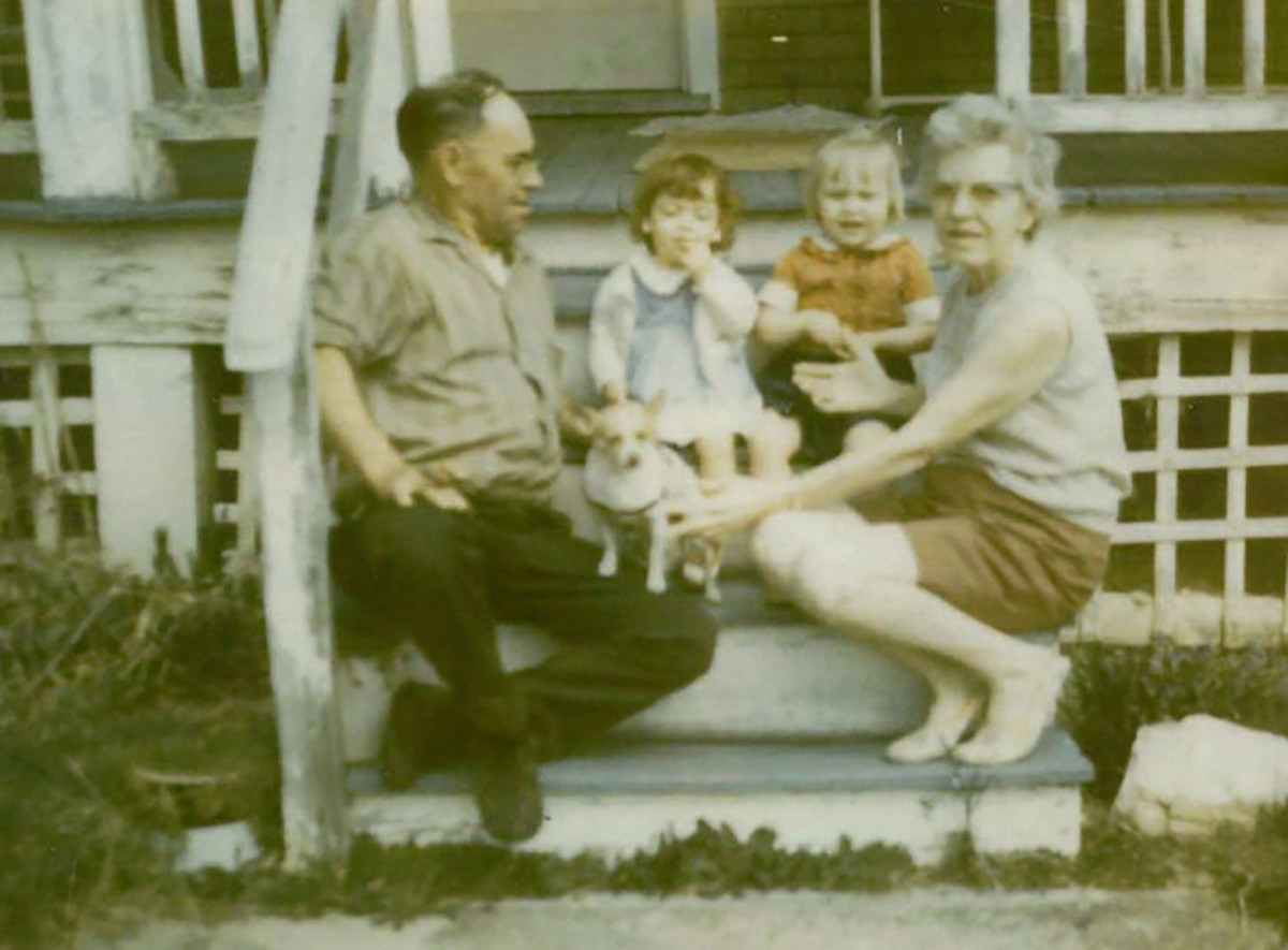 Glenda and Debbie with their grandparents at their great grandmother's house in Waynesboro, Virginia, c. 1968.