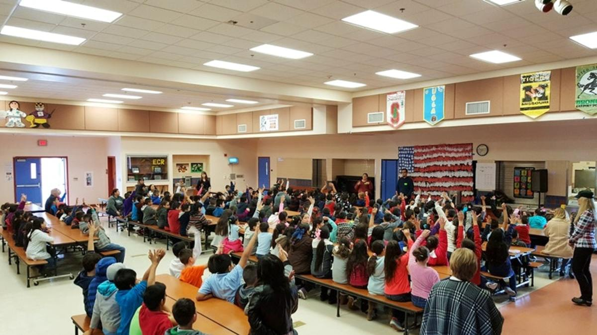 Students at El Camino Real Elementary School in Arvin, California, attend an assembly to learn about the school's new water filters that help treat arsenic and other contaminants.