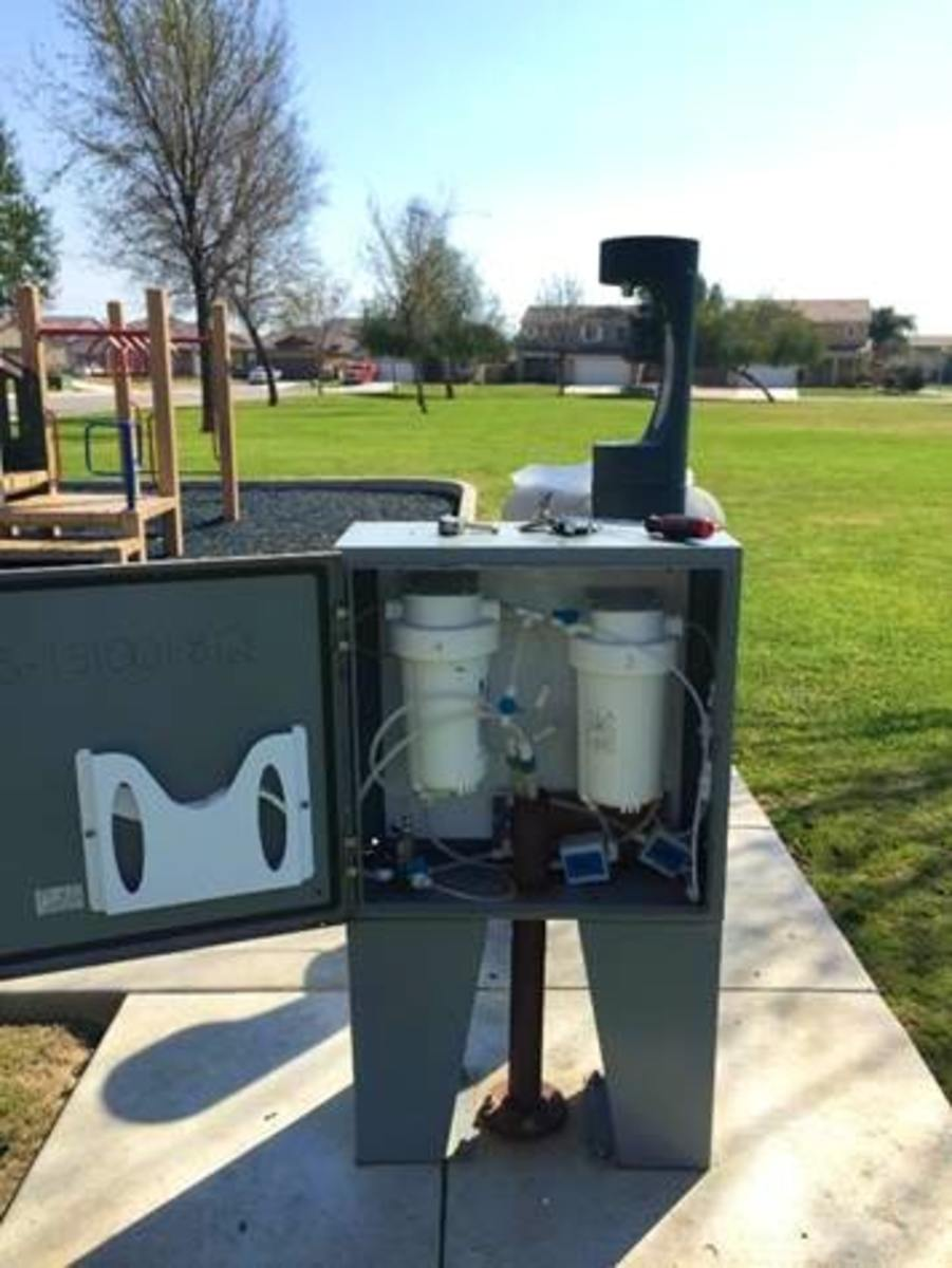 A point-of-use filter at Felecita Park in Arvin, California, helps treat arsenic and other contaminants in the water.