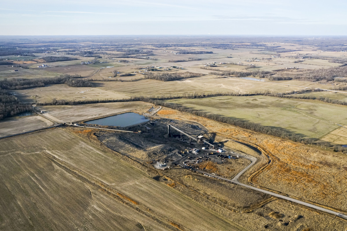 Flying over the impoundment structure at Rocky Branch coal mine in Saline County, Illinois.