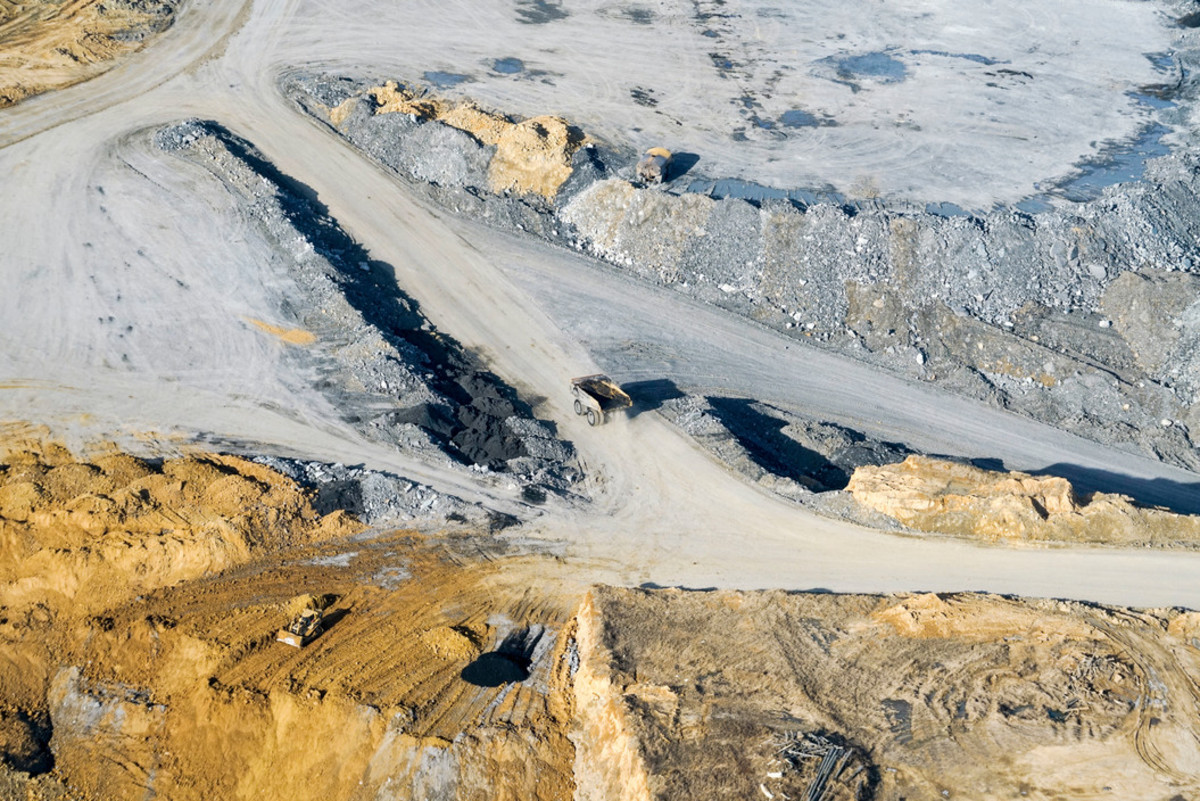 Flying over coal mines in southern Illinois.