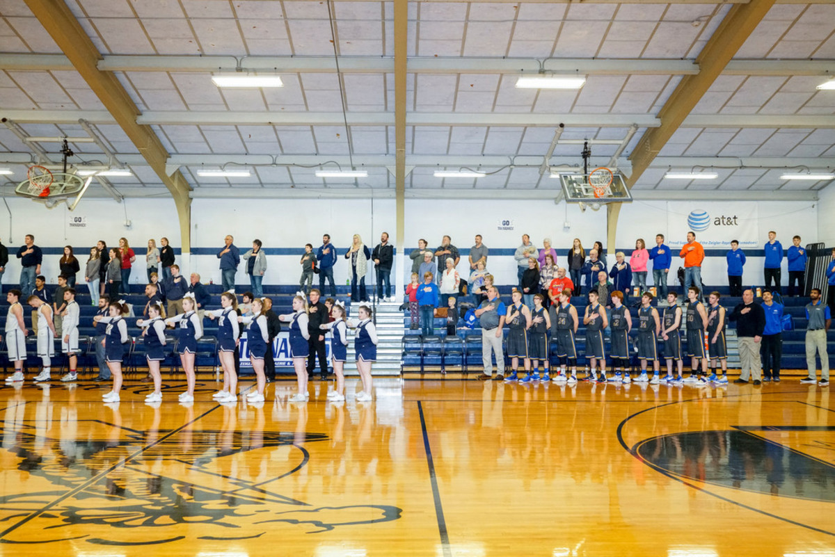 National anthem before a basketball game at Zeigler-Royalton High School in the heart of coal country.