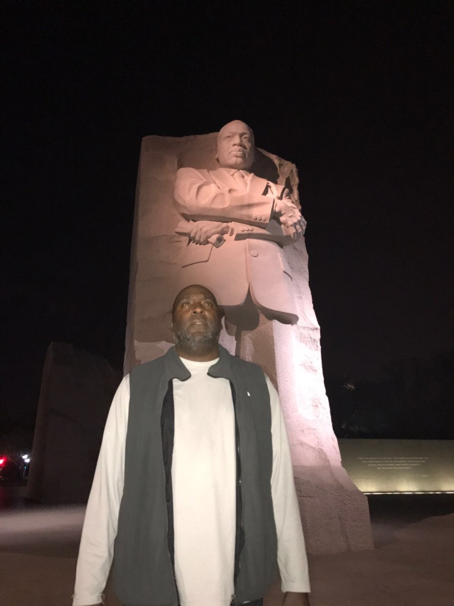 Gregory at the Martin Luther King Jr. Memorial in Washington, D.C.