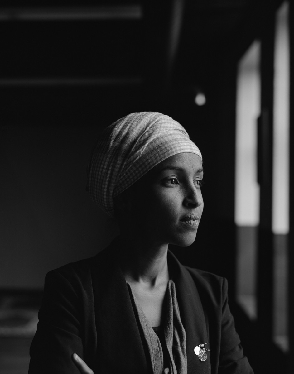 Ilhan Omar, state representative, photographed at her office in Cedar Riverside, Minneapolis in 2017.