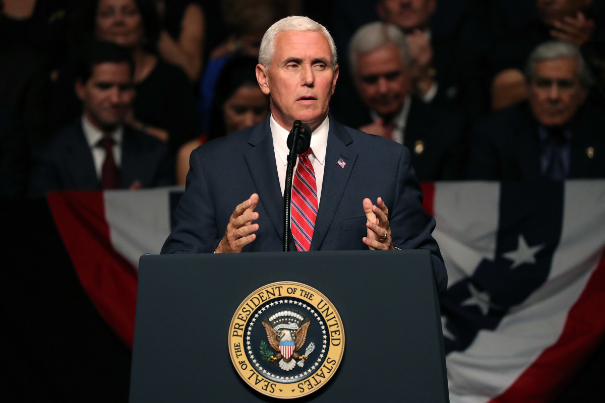 Vice President Mike Pence, seen here speaking in Miami, Florida, on June 16th, 2017.