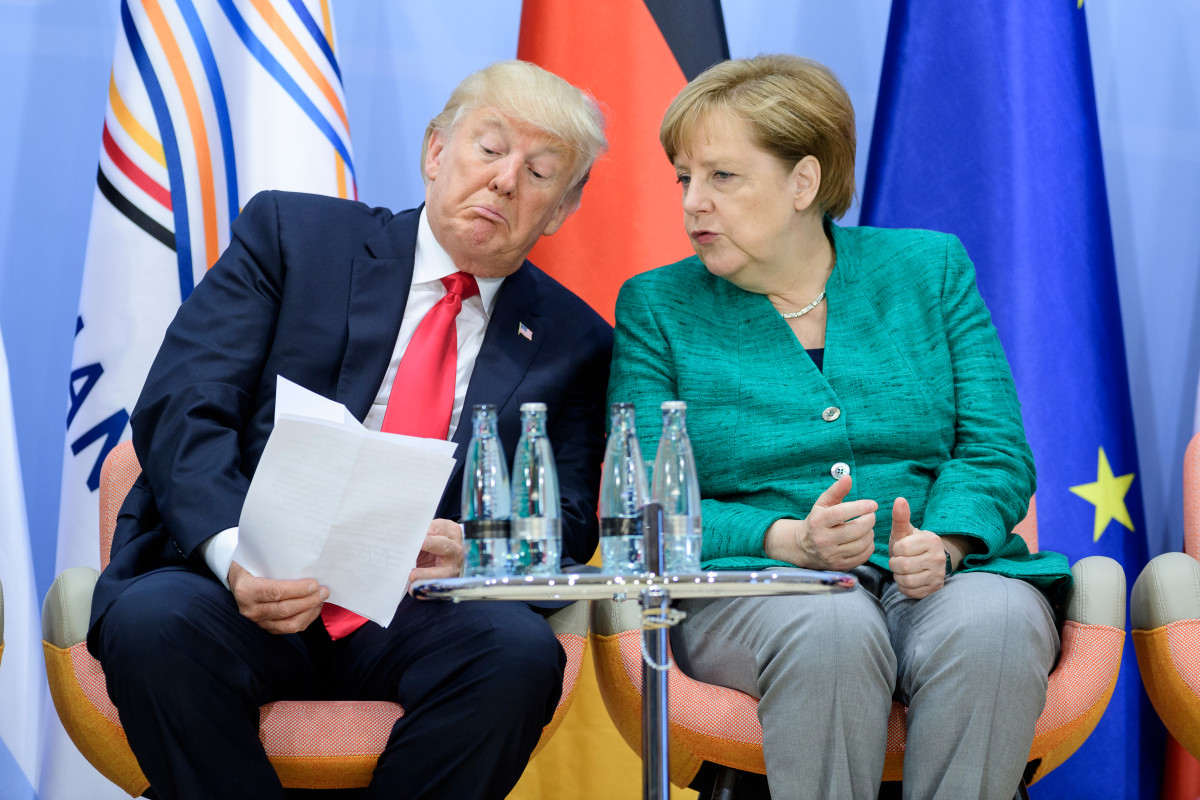 President Donald Trump and German Chancellor Angela Merkel, pictured on the second day of the G20 summit in Hamburg, Germany, on July 8th, 2017.
