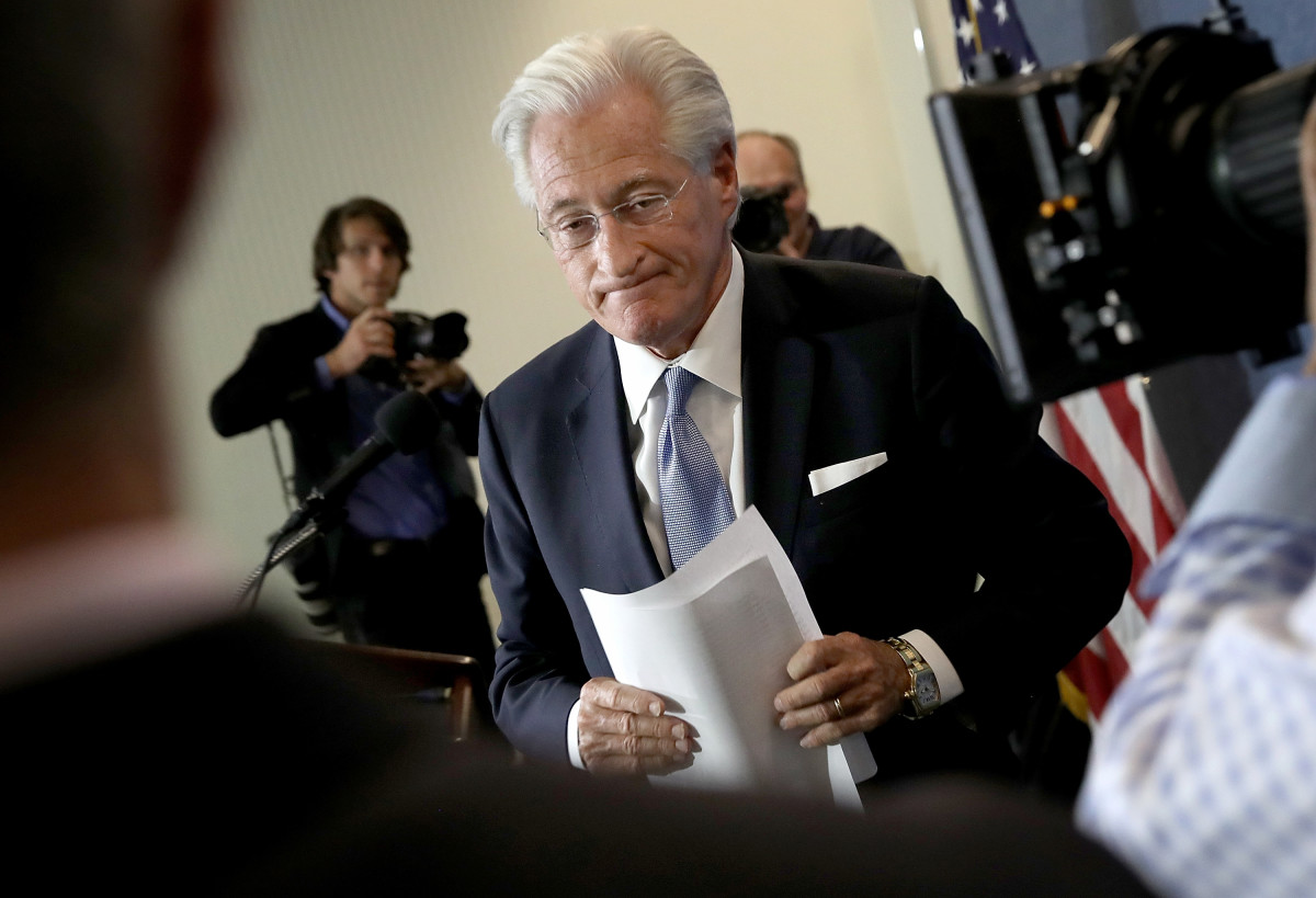 Marc Kasowitz departs after speaking at the National Press Club on June 8th, 2017, in Washington, D.C.