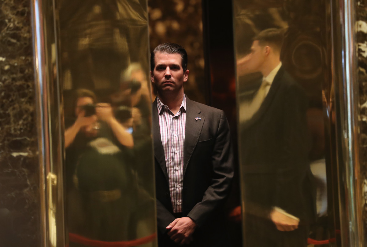 Donald Trump Jr. arrives at Trump Tower on January 18th, 2017, in New York City.