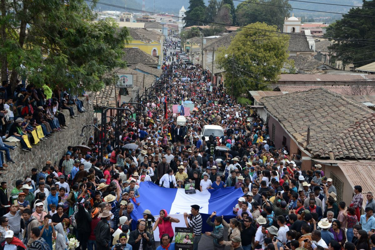 People attend the funeral of murdered indigenous activist Berta Caceres on March 5th, 2016.
