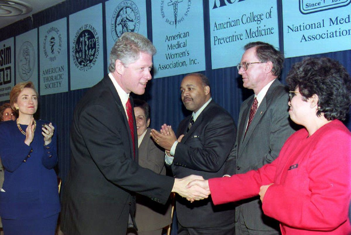 President Bill Clinton meets with physicians at the White House on December 16th, 1993.