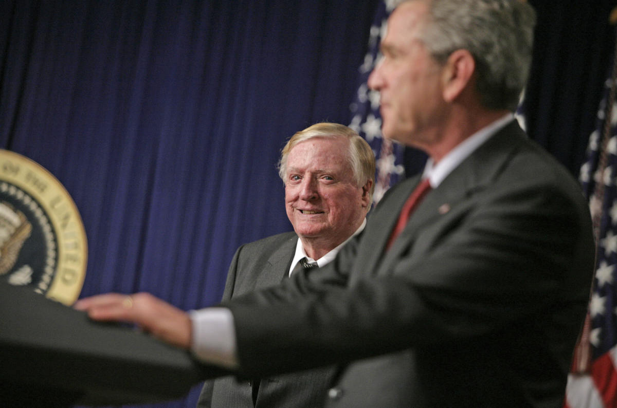 George W. Bush speaks during a tribute to The National Review and William F. Buckley Jr. on October 6th, 2005, in Washington, D.C.