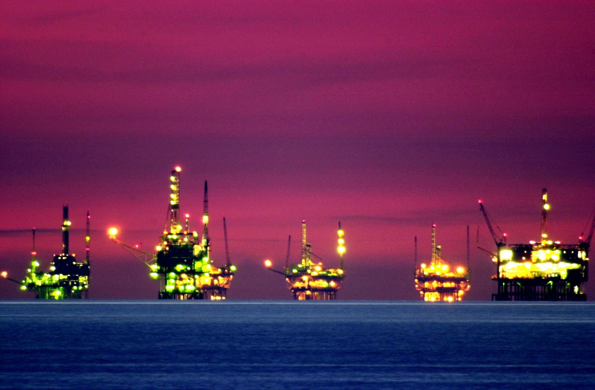 Oil and gas platforms in the Santa Barbara Channel.