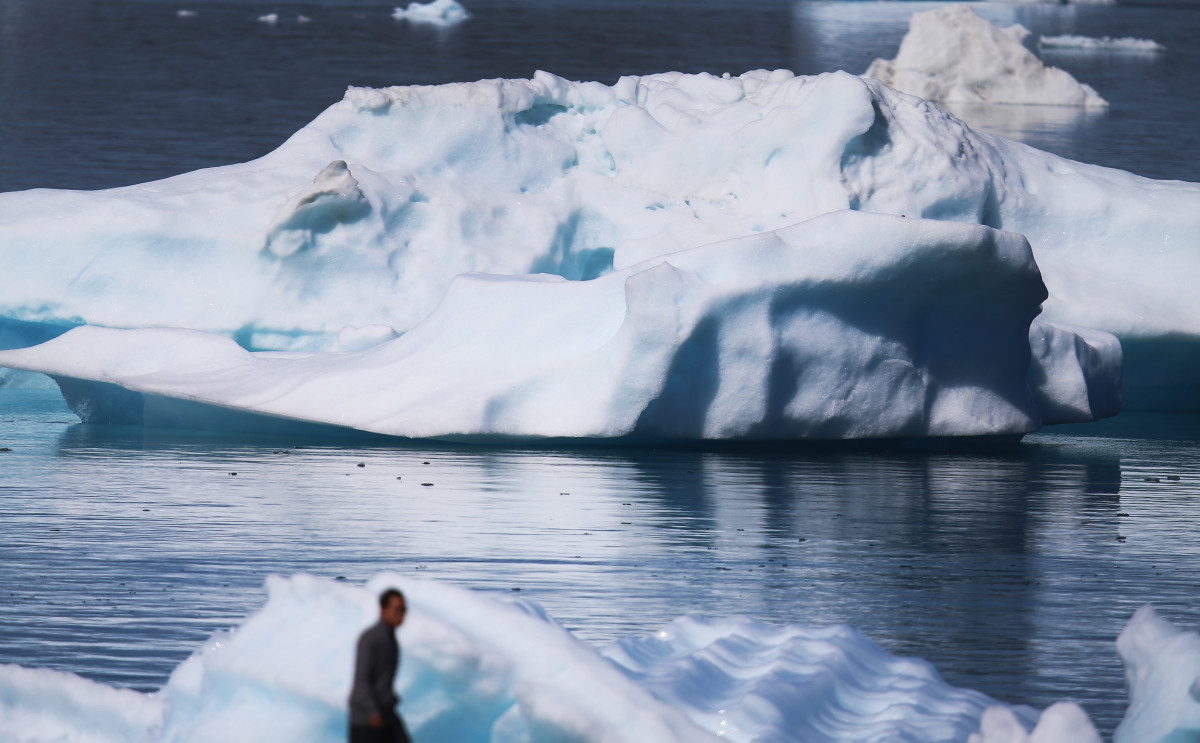 Icebergs are seen floating in the water on July 30th, 2013, in Narsaq, Greenland.