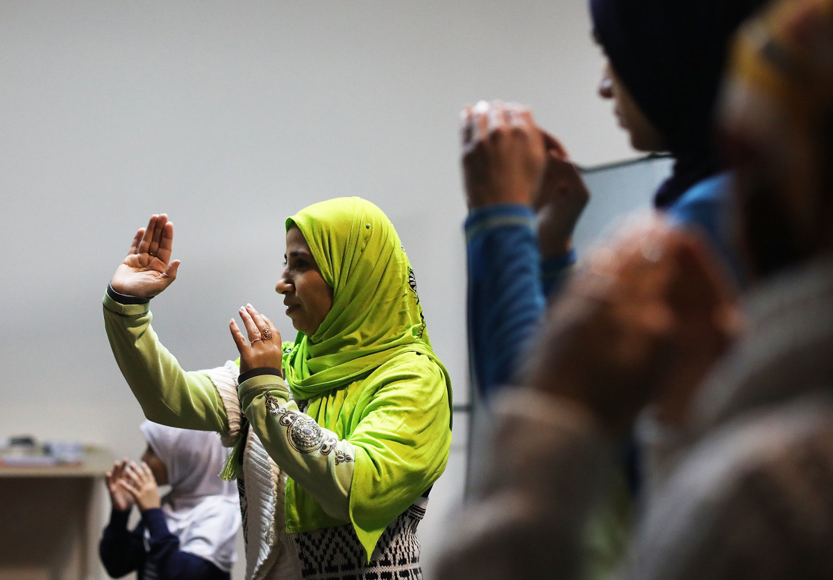 Muslim women participate in a self defense class on December 16th, 2016, in New York City.