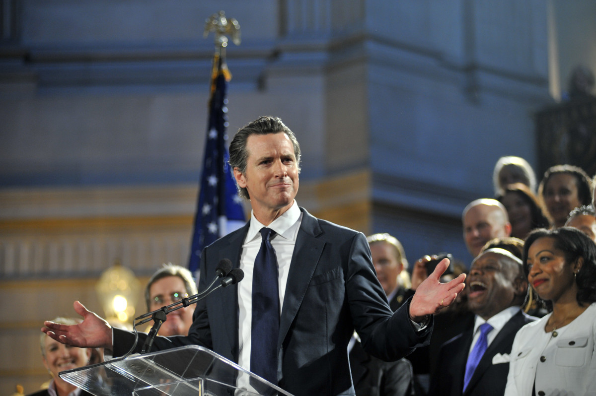 Gavin Newsom delivers a speech in 2013.