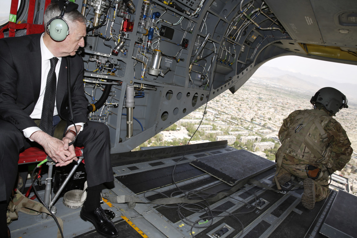 Secretary of Defense James Mattis looks out over Kabul as he arrives via helicopter at Resolute Support headquarters on April 24th, 2017, in Afghanistan.