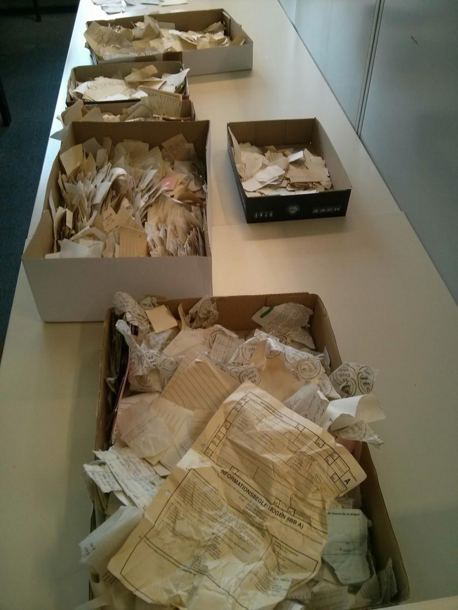 Pieces of Stasi documents before they are reconstructed.