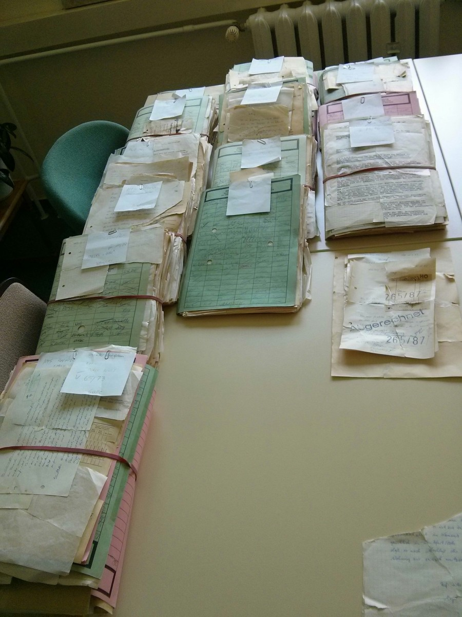Files ready to make their way to the archives room.