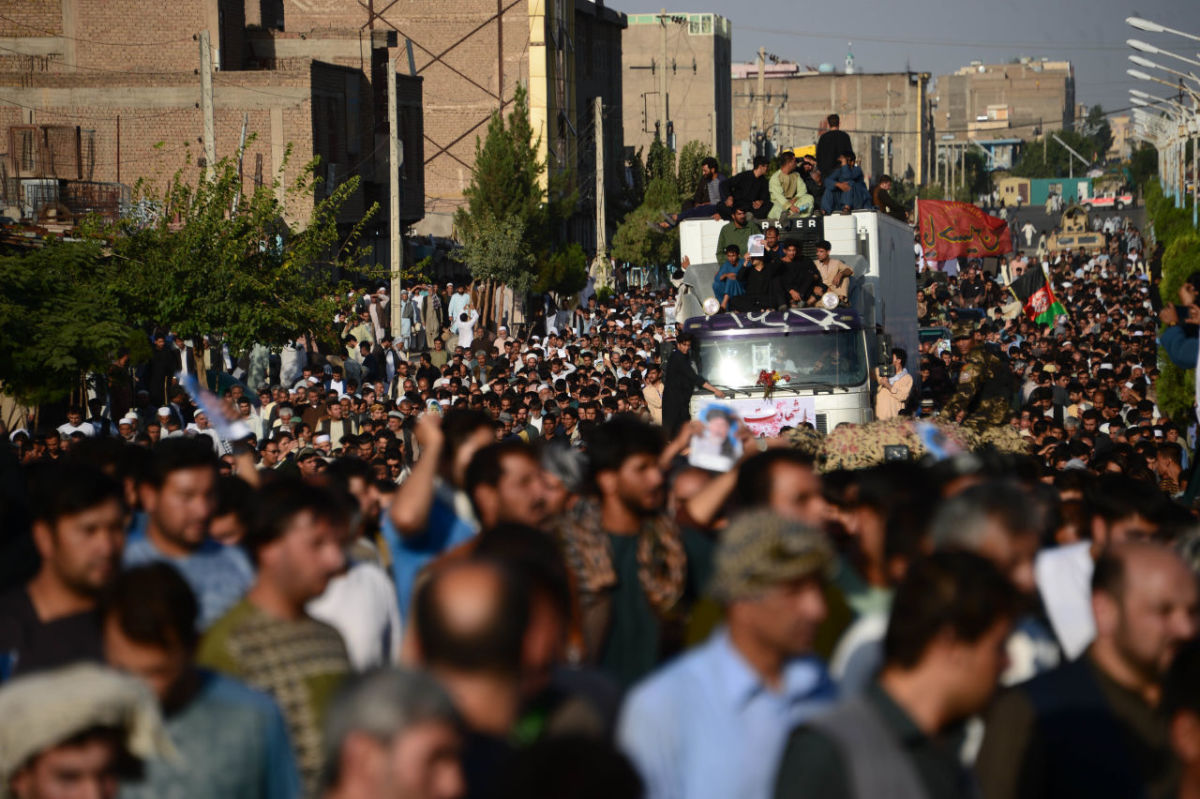 Afghan protesters shout against the Islamic State group following a mosque attack that killed 33 people in Herat on August 2nd, 2017.