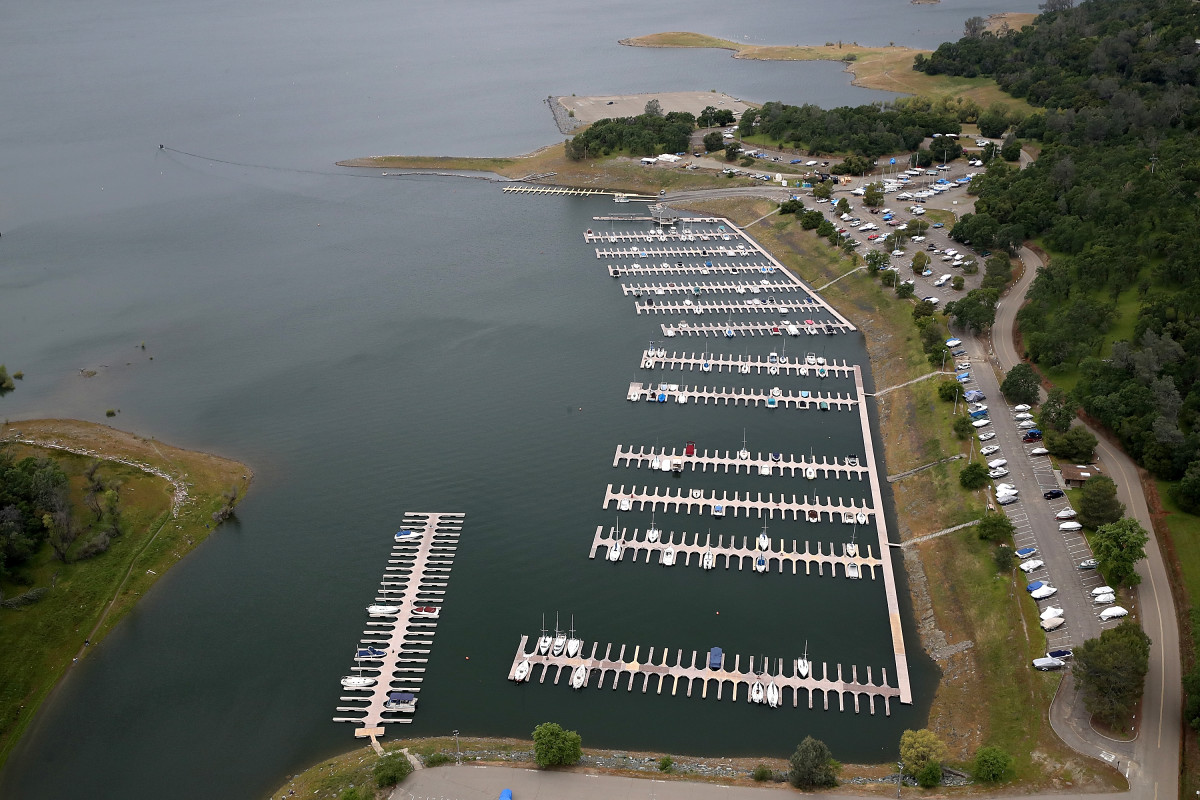 Boats sit docked at the Folsom Lake Marina on April 11th, 2017, in El Dorado Hills, California.