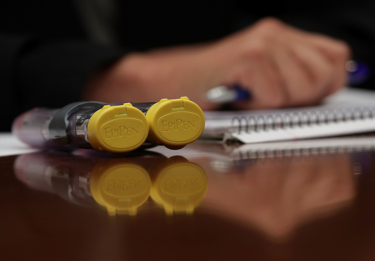 A two-pack of EpiPen is seen on the witness table during a hearing before the House Oversight and Government Reform Committee on September 21st, 2016.(Photo: Alex Wong/Getty Images)