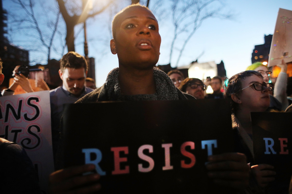 Hundreds protest a Trump administration announcement that rescinds an Obama-era order allowing transgender students to use school bathrooms matching their gender identities, at the Stonewall Inn on February 23rd, 2017.